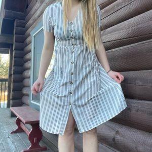 Romwe Striped Button Up Beach Dress
